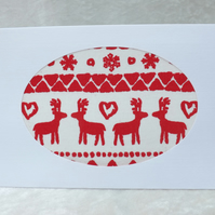 Handmade Fabric Card - Red Reindeer on White Fabric Christmas Card
