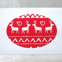 Handmade Fabric Card - White Reindeer on Red Fabric Christmas Card