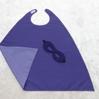 FAB MINI Reversible Purple & Mauve SuperHero Cape Mask Younger Childs SUPERHERO