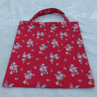 Cute Mini Tote Bag in Cath Kidston Red Sprig Fabric