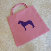 Little Lined Tote Bag in Orchid Pink coloured Fabric with Purple Horse Motif