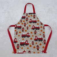 Handmade Older Childs Apron in Red Fireman Engine Fabric 5-11 yrs, Red Straps