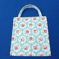 Cute Lined Mini Tote Bag in Cath Kidston Provence Rose Blue Fabric