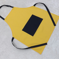 Handmade Adult Adjustable Apron in Yellow with Navy Polycotton Drill