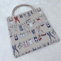 Cute Lined Mini Tote Bag in Washing Line Motif Fabric Small Peg Bag