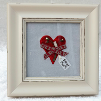 "Hand Embroidered Textile Art Fabric Heart Picture ""Dear Mum"" Fab for Mothers Day"