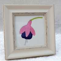 Hand Embroidered Textile Art Fabric Fuchsia Picture