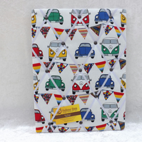 Handmade Fabric Memo Board in Cream Camper Van, with White Elastic Straps