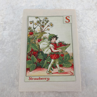 192 Page A5 Notepad with handmade lined notepad cover S Flower Fairy, Strawberry