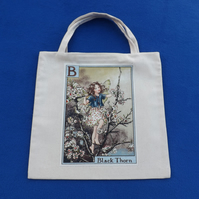 Cute Lined Mini Tote Bag in Cream Fabric with B Flower Fairy Black Thorn motif