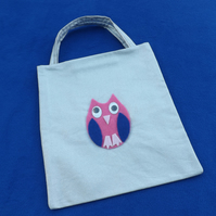 Cute Mini Tote Bag in Silver Glittery Fabric with Pink Owl & Googly Eyes