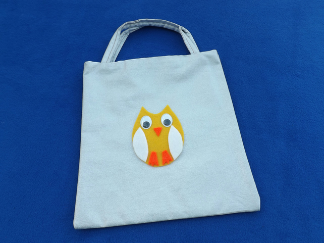 Cute Mini Tote Bag in Silver Glittery Fabric with Yellow Owl & Googly Eyes