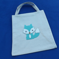 Cute Mini Tote Bag in Silver Glittery Fabric with Turquoise Fox & Googly Eyes