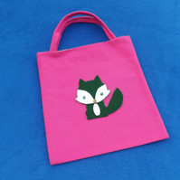 Cute Mini Tote Bag in Cerise Fabric with Green & White Fox & Googly Eyes