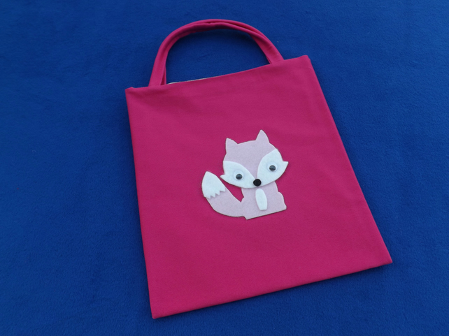 Cute Mini Tote Bag in Cerise Fabric with Pink & White Fox & Googly Eyes