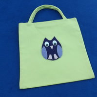 Cute Mini Tote Bag in Lime Green Fabric with Purple & Mauve Owl & Googly Eyes