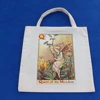 Cute Lined Mini Tote Bag in Cream Fabric with Q Flower Fairy Queen of the Meadow