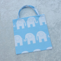 Cute Mini Tote Bag in Blue with White Elephants Fabric