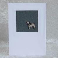 Handmade Fabric Card in Slate Blue Pug Sophie Allport Fabric