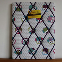 Fabric Memo Board in Pink Green Purple Owls Fabric with Purple Elastic Straps