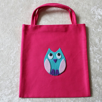 Little Tote Bag in Cerise Fabric with Turquoise & Pink Owl & Googly Eyes Owls