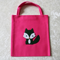 Little Tote Bag in Cerise Fabric with Green & White Fox & Googly Eyes