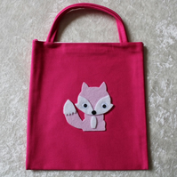 Little Tote Bag in Cerise Fabric with Pink & White Fox & Googly Eyes