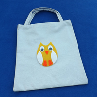 Little Tote Bag in Silver Glittery Fabric with Yellow Owl & Googly Eyes