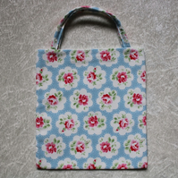 Little Lined Tote Bag in Cath Kidston Provence Rose Blue Fabric