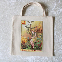 Lined Little Tote Bag in Cream Fabric with Q Flower Fairy Queen of the Meadow