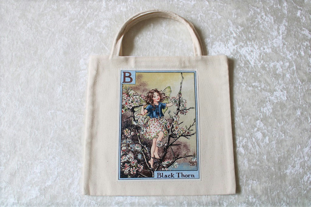 Lined Little Tote Bag in Cream Fabric with B Flower Fairy Black Thorn motif