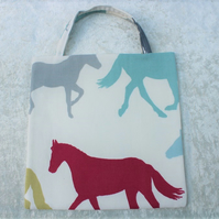 Little Lined Tote Bag in Stampede Horse Fabric Horses