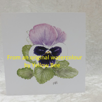 Pansy Print card from an original watercolour Pansy by Yellow Bee