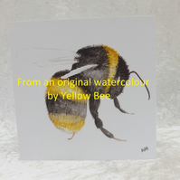 5 Bee Print cards from an original watercolour Bee by Yellow Bee