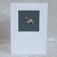 Handmade Fabric Card in Sophie Allport Slate Blue Pug Fabric