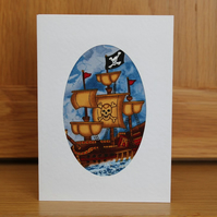Handmade A6 Fabric Card in Pirate Galleon Fabric Skull & Crossbones Card