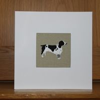 Handmade Fabric Card in Sophie Allport Woof fabric Springer Spaniel