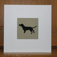 Handmade Fabric Card in Sophie Allport Woof fabric Black Labrador
