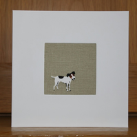 Handmade Fabric Card in Sophie Allport Woof fabric Jack Russell
