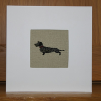 Handmade Fabric Card in Sophie Allport Woof fabric Wiredhaired Dachshund