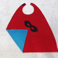 MINI Reversible Red & Turquoise SuperHero Cape Mask Younger Childs SUPERHERO