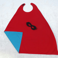 FAB REGULAR Reversible Turquoise & Red Super Hero Cape Mask Childs SUPERHERO