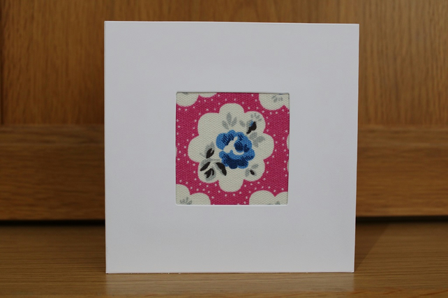 Handmade Fabric Card in Cath Kidston Provence Rose Pink fabric