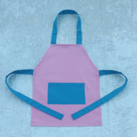 Handmade Younger Childs Adjustable Apron in Pink with Turquoise Fabric 2-5 yrs
