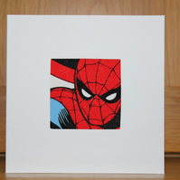 Spiderman Card Fabric Card in Spiderman Fabric Spider-man