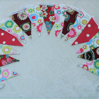 3m 15 flag Bunting Cath Kidston Fabric Red Camden Red Spotty Ditsy Flower Clocks