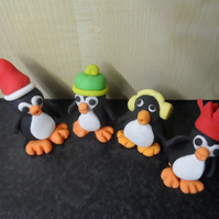 Edible Party Penguins Christmas Cake toppers decorations