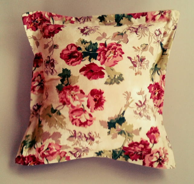 Shabby chic red summer rose cushion