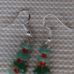 Delicate Dinky Jade Chip Faintly Festive Fun, New, Dangly Earrings