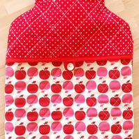 """APPLE RED"" - quilted Hot Water Bottle Cover"